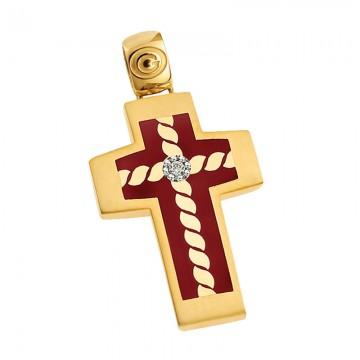 Σταυρός unisex σε χρυσό σμάλτο μπορντό Κ14 ST068G00231