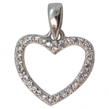 Επιπλατινωμένη Ασημένια Κρεμαστή Καρδιά Από Ασήμι 925 KRS-1014