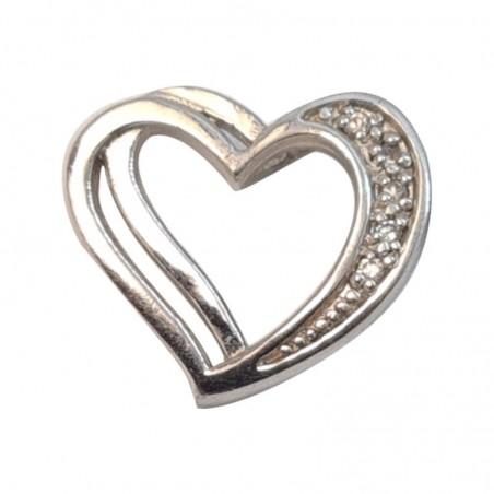 Επιπλατινωμένη Ασημένια Κρεμαστή Καρδιά Από Ασήμι 925 KRS-1016