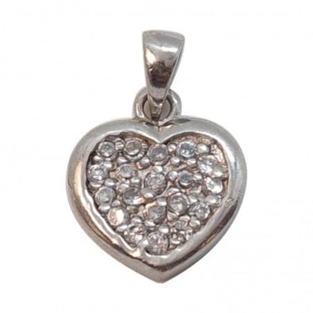 Ασημένια Επιπλατινωμένη Κρεμαστή Καρδιά Από Ασήμι 925 KRS-1017