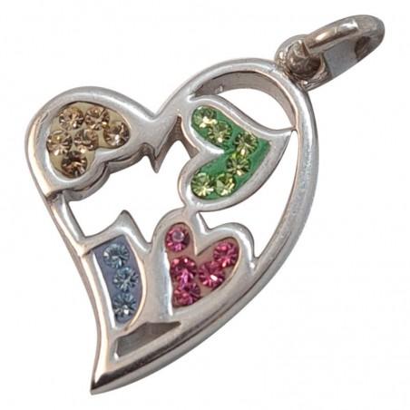 Επιπλατινωμένη Ασημένια Κρεμαστή Καρδιά Από Ασήμι 925 KRS-1018