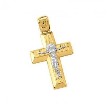Σταυρός ανδρικός σε χρυσό Κ14 ST018G0597