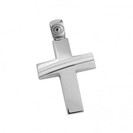 Σταυρός Ανδρικός Σε Λευκόχρυσο Κ14 ST024G0457