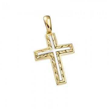 Σταυρός unisex σε χρυσό Κ14 ST046G0343