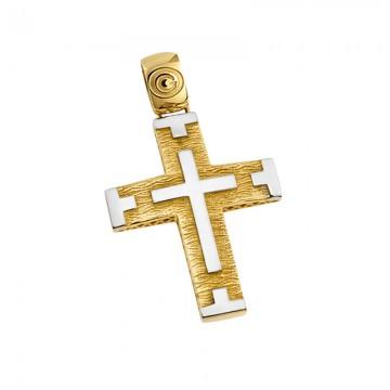 Ανδρικός σταυρός σε χρυσό Κ14 ST052G079