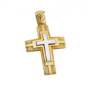 Ανδρικός σταυρός σε χρυσό και λευκόχρυσο Κ14 ST053G078A