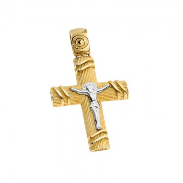 Ανδρικός σταυρός σε χρυσό Κ14 ST054G068