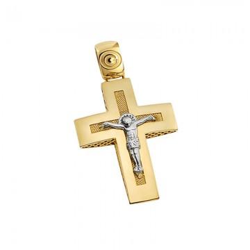 Σταυρός ανδρικός με εσταυρωμένο σε χρυσό Κ14 ST057G042