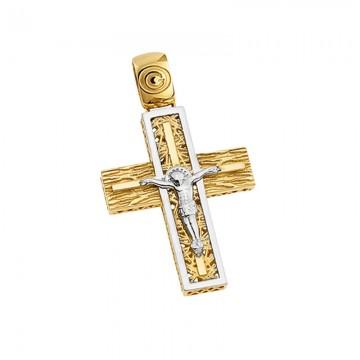 Σταυρός ανδρικός με εσταυρωμένο σε χρυσό Κ14 ST058G0038